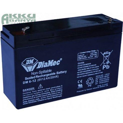 DIAMEC 6V 12Ah akkumulátor DM6-12