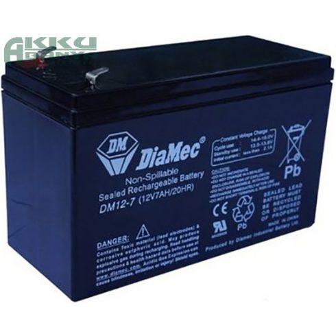 DIAMEC 12V 7Ah akkumulátor DM12-7