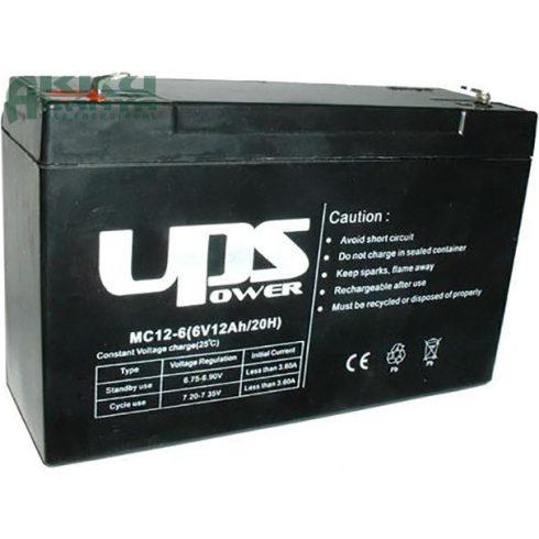 UPS POWER 6V 12Ah akkumulátor MC12-6