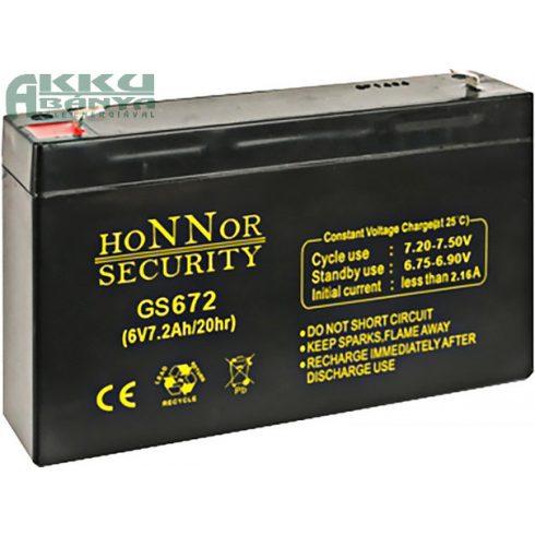 HONNOR 6V 7,2Ah akkumulátor