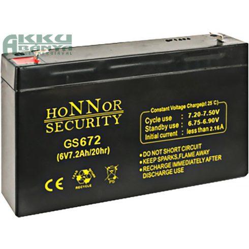 HONNOR 6V 7,2Ah akkumulátor GS672