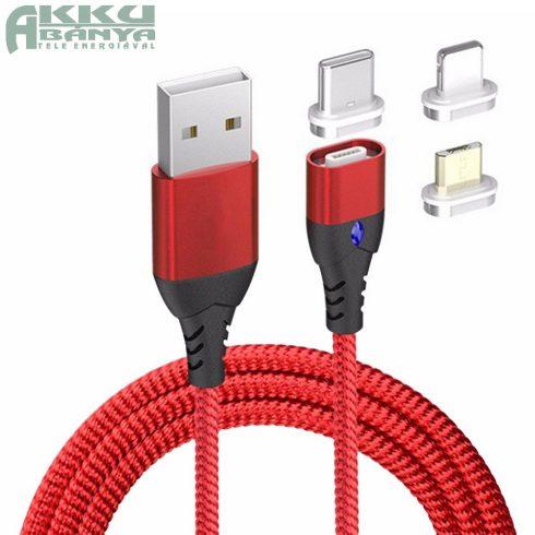 Mágneses USB kábel, 3A PD-QC gyors-töltés, piros