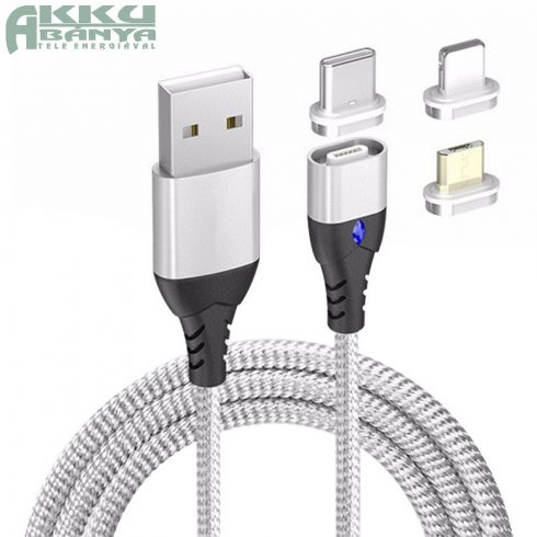 Mágneses USB kábel, 3A PD-QC gyors-töltés, ezüst